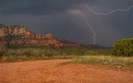Preview wallpaper Arizona, Sedona, USA, valley, mountains, clouds, lightning