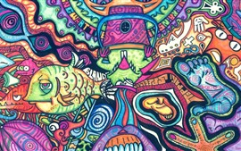 Preview wallpaper Artwork, colorful painting, fish, monster, abstract style