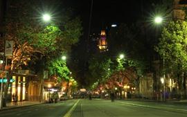 Austrália, melbourne, cidade, rua, luzes, noturna