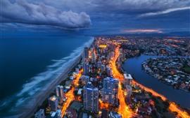 Австралия, город ночь, море, огни, здания