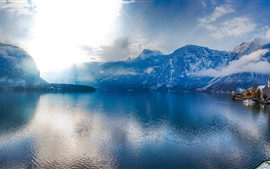 Austria, Hallstatt, Alps, lake, promenade, panoramic