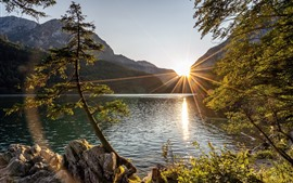 Preview wallpaper Austria, Styria, lake, trees, mountains, sun rays