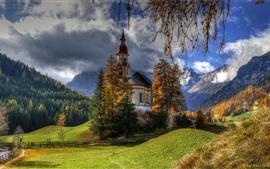 미리보기 배경 화면 오스트리아, 교회, 나무, 산, 구름