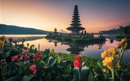 Preview wallpaper Bali, temple, lake, flowers, Indonesia