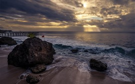 Bali, waves, sea, stones, pier, clouds, sun rays, sunset