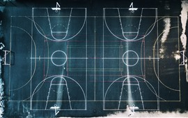 Preview wallpaper Basketball ground and football ground, top view