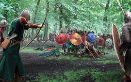 Batalla, guerrero, arquero, escudo, imagen artística.