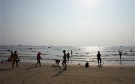 Praia, mar, água, pessoas, Huizhou, China
