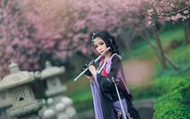 壁紙のプレビュー 美しい中国の女の子、レトロスタイル、フルート