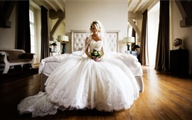 Preview wallpaper Beautiful bride, white skirt, flowers, wedding, bedroom