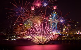 Preview wallpaper Beautiful fireworks, night, city, Shanghai, China