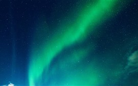 Beautiful green northern lights, starry, night