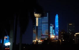 Belas luzes mostram, estilo azul, arranha-céus, Shenzhen