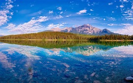 Preview wallpaper Beautiful nature landscape, lake, mountains, trees, water reflection, Canada