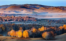 Beautiful nature landscape, trees, hills, autumn, China