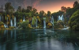 壁紙のプレビュー 美しい滝、湖、自然の風景