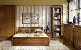 Quarto, cama, interior, janelas