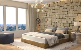 Bedroom, bed, window, lamp, interior