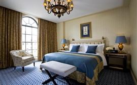 壁紙のプレビュー ベッドルーム、インテリア、枕、ベッド、窓