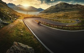 Preview wallpaper Bend road, motorcycle, mountains, lake, morning