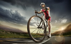 Preview wallpaper Bike, sporter, road, clouds, sky