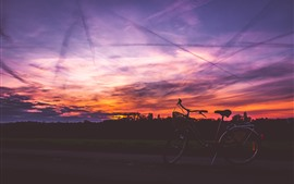 Preview wallpaper Bike, sunset, red sky