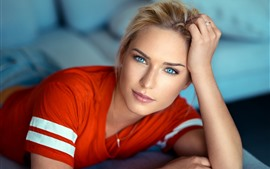 Preview wallpaper Blonde girl, blue eyes, pose