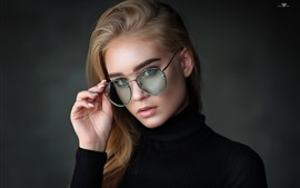 Preview wallpaper Blonde girl, glasses, black sweater