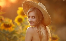 Preview wallpaper Blonde girl look back, smile, hat, sunflowers, summer