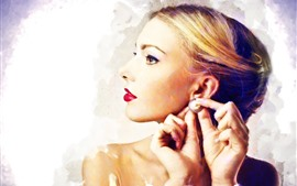 Blonde girl, makeup, earring, art style