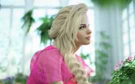 Preview wallpaper Blonde girl, pink skirt, room