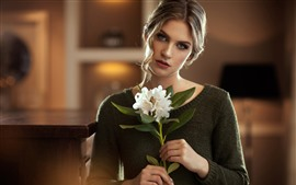 Preview wallpaper Blonde girl, white flowers, bouquet, sweater
