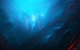 Blue nebula, space, light