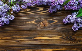 Preview wallpaper Blue purple flowers, lilac, wood board