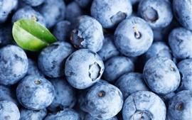 Mirtilos, close-up, folha, fruta