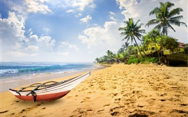 Preview wallpaper Boat, beach, sea, palm trees, tropical