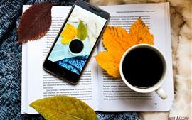 Aperçu fond d'écran Livre, café, feuilles, téléphone portable, nature morte