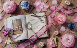 Preview wallpaper Book, scissors, magnifier, camellia, still life