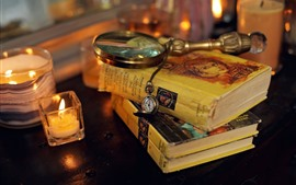 Preview wallpaper Books, magnifying glass, pocket watch, candles, still life