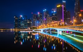 Bridge, river, buildings, illumination, lights, city, night