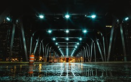 Bridge, tunnel, lights, wet road, night