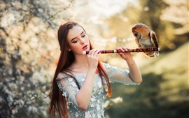 Preview wallpaper Brown hair girl, flute, owl
