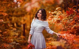 Preview wallpaper Brown hair girl in autumn, sweater, maple leaves