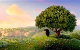 Aperçu fond d'écran Taureau, arbre, herbe, fleurs sauvages, film d'animation
