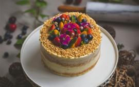 Торт, десерт, ягоды, черника, клубника