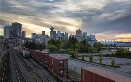Preview wallpaper Canada, Vancouver, city, railroad, container, dusk