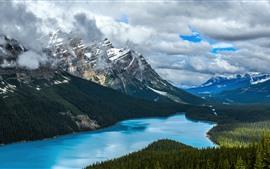Canadá, natureza, paisagem, lago, árvores, montanhas, neve, nuvens