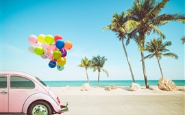 Preview wallpaper Car, colorful balloons, palm trees, sea, tropical