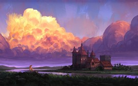 Preview wallpaper Castle, river, girl, clouds, art picture