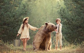 Preview wallpaper Child girl and boy, brown bear, fish